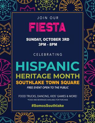 Para celebrar el mes del patrimonio hispano, los líderes y residentes locales de Southlake invitan al público a disfrutar de una FIESTA con mucha comida, música y diversión. Esta celebración, la primera en su tipo, tendrá lugar el 3 de octubre desde las 3p.m. hasta las 8p.m. en Southlake Town Square. El evento es GRATUITO y abierto al público. (PRNewsfoto/Cien Plus)